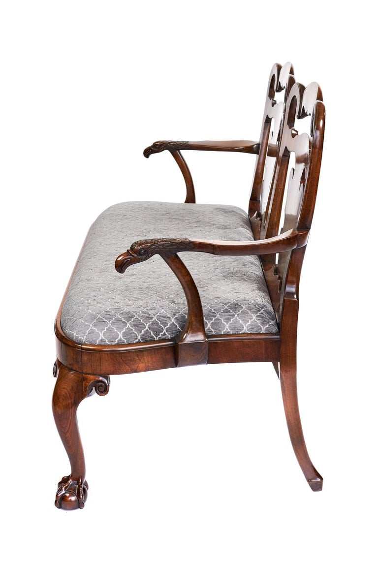 Magnificent Antique Georgian Revival Walnut Chair Back Sofa/Settee For Sale 5