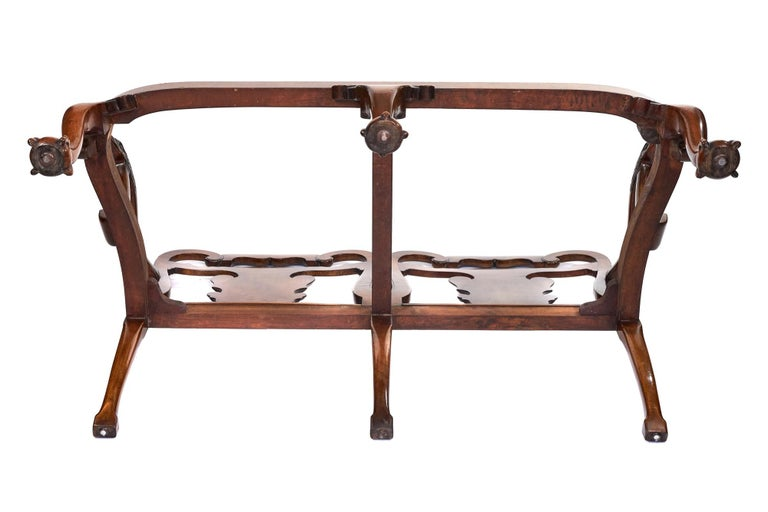 Magnificent Antique Georgian Revival Walnut Chair Back Sofa/Settee For Sale 6