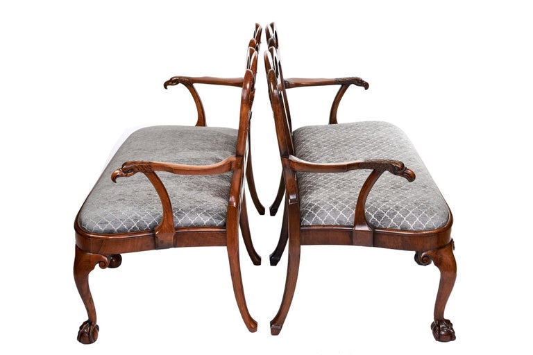 An outstanding unusual Georgian revival walnut chair back sofa/settee also available as a near pair. Boasting beautiful twin walnut shaped backs and elegantly shaped arms with carved Eagle heads. Three delightful cabriole legs to the front with claw