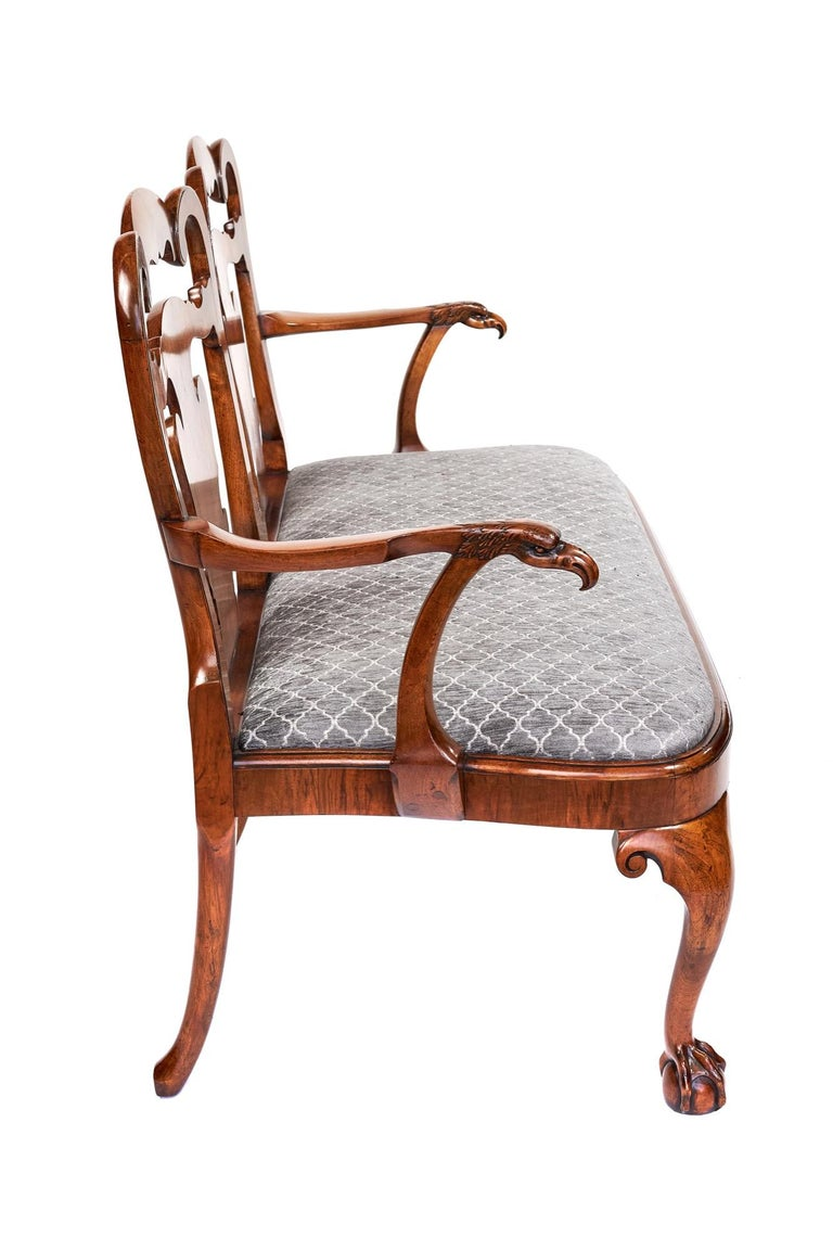 English Magnificent Antique Georgian Revival Walnut Chair Back Sofa/Settee For Sale