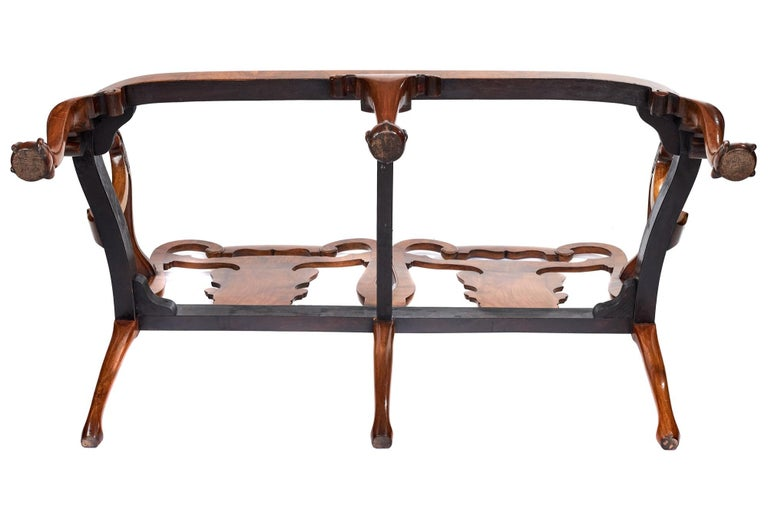 19th Century Magnificent Antique Georgian Revival Walnut Chair Back Sofa/Settee For Sale