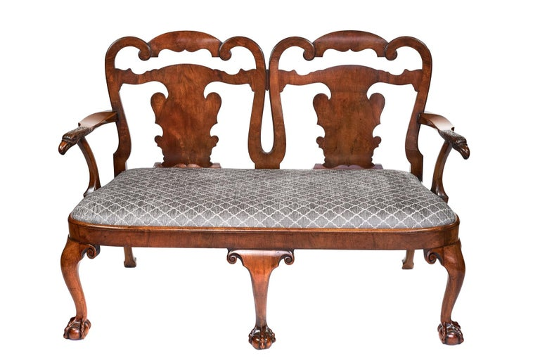 Magnificent Antique Georgian Revival Walnut Chair Back Sofa/Settee For Sale 2