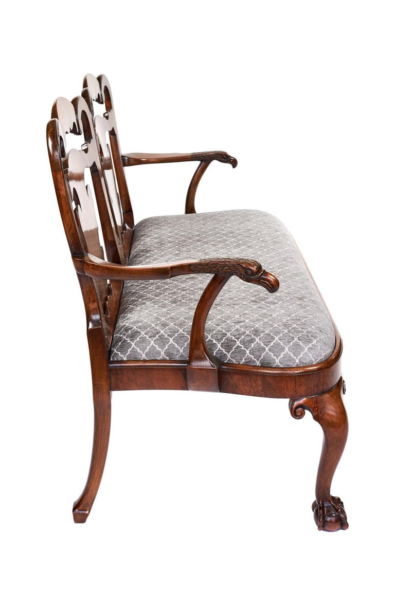 Magnificent Antique Georgian Revival Walnut Chair Back Sofa/Settee For Sale 3
