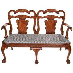 Magnificent Antique Georgian Revival Walnut Chair Back Sofa/Settee