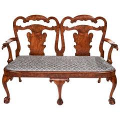 Magnificent Antique Georgian Revival Walnut Chair Back Sofa/Settee