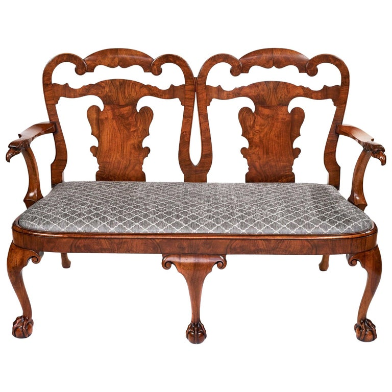 Magnificent Antique Georgian Revival Walnut Chair Back Sofa/Settee For Sale