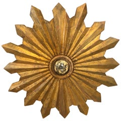 Magnificent Antique Giltwood Sunburst Mirror