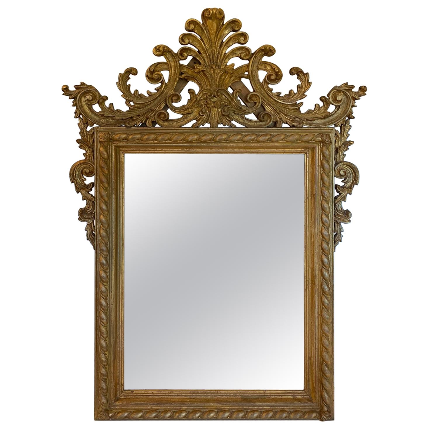 Magnificent Antique Italian Carved Giltwood Mirror