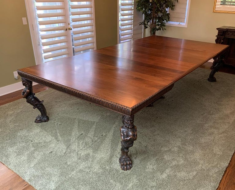 Magnificent Antique Italian Renaissance Revival Dining Room Table with 15 Chairs For Sale 4
