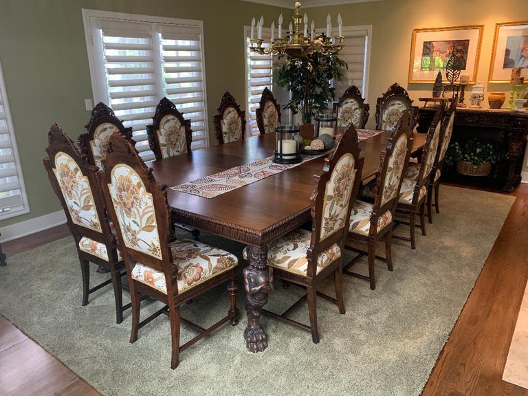 Magnificent Antique Italian Renaissance Revival Dining Room Table with 15 Chairs For Sale 5