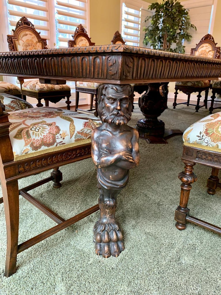 Magnificent Antique Italian Renaissance Revival Dining Room Table with 15 Chairs For Sale 7