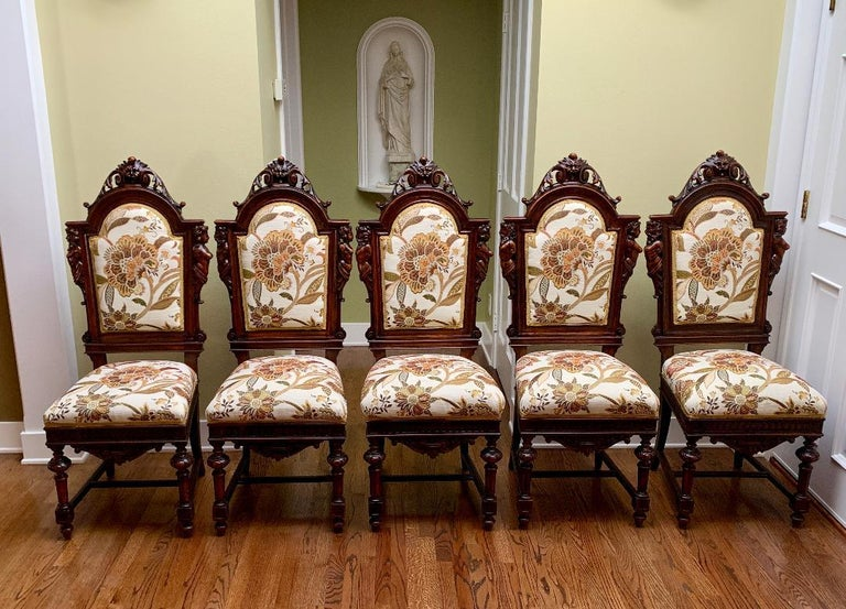 Magnificent Antique Italian Renaissance Revival Dining Room Table with 15 Chairs In Good Condition For Sale In Tustin, CA