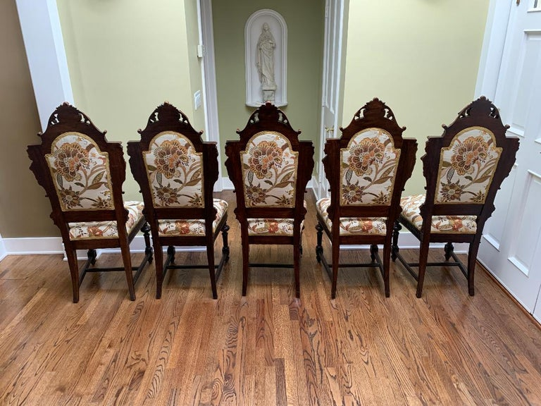 19th Century Magnificent Antique Italian Renaissance Revival Dining Room Table with 15 Chairs For Sale