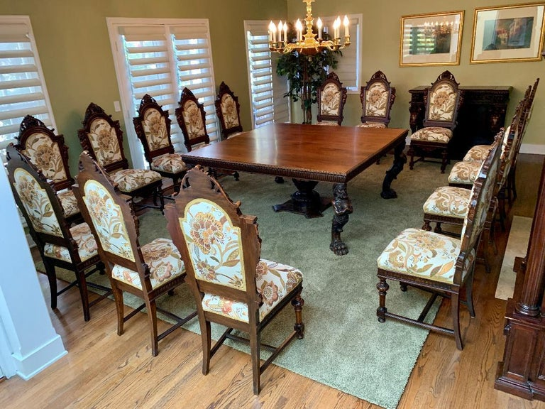 Walnut Magnificent Antique Italian Renaissance Revival Dining Room Table with 15 Chairs For Sale
