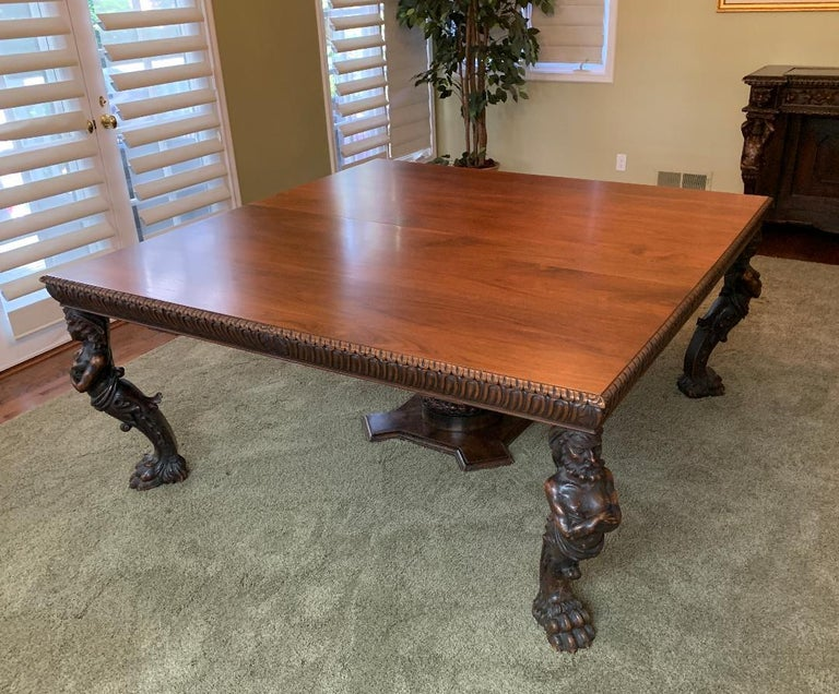 Magnificent Antique Italian Renaissance Revival Dining Room Table with 15 Chairs For Sale 1