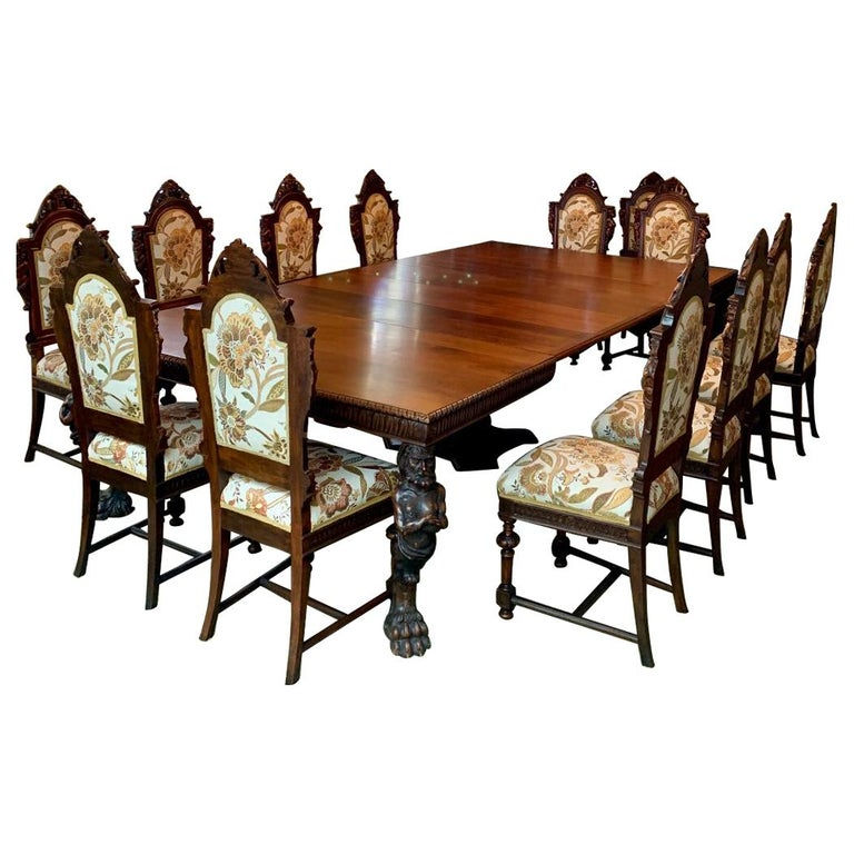 Magnificent Antique Italian Renaissance Revival Dining Room Table with 15 Chairs For Sale