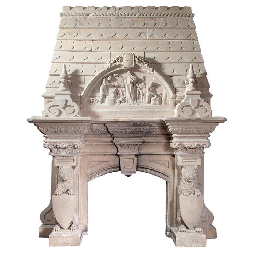 Magnificent Antique Limestone Mantel