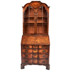 Magnificent Antique Queen Anne Revival Walnut Bureau Bookcase