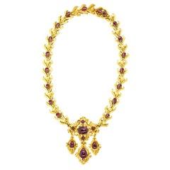 Magnificent Antique Revivalist Garnet-Set Gold Necklace