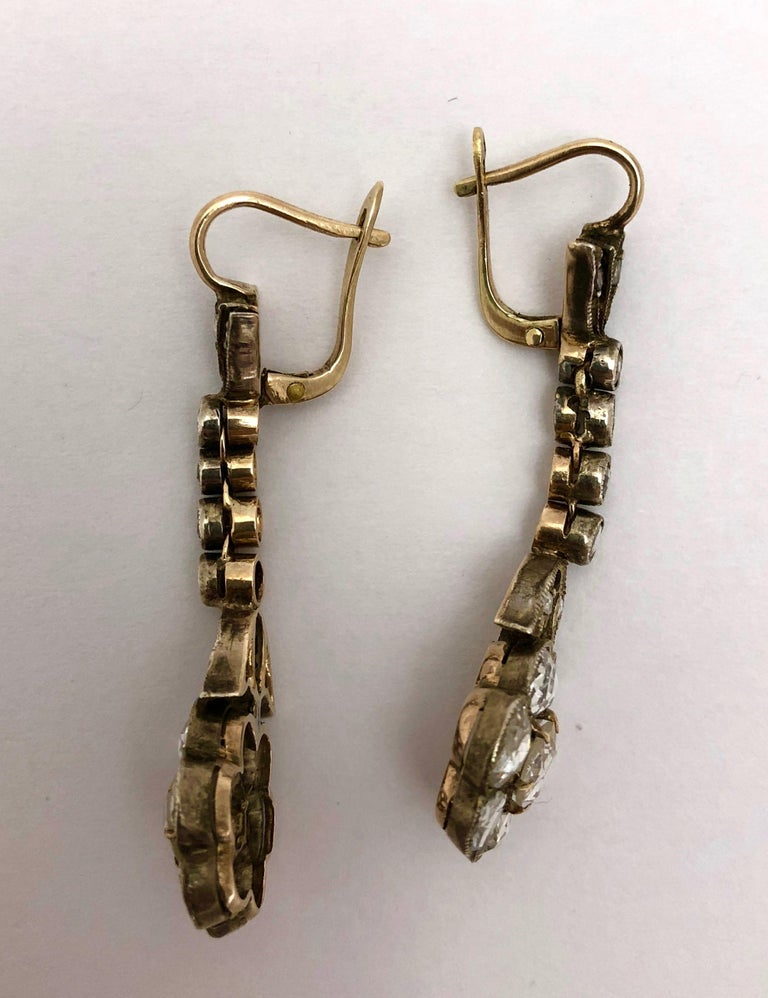Late Victorian Magnificent Antique Rose Cut Diamond Drop Earrings For Sale