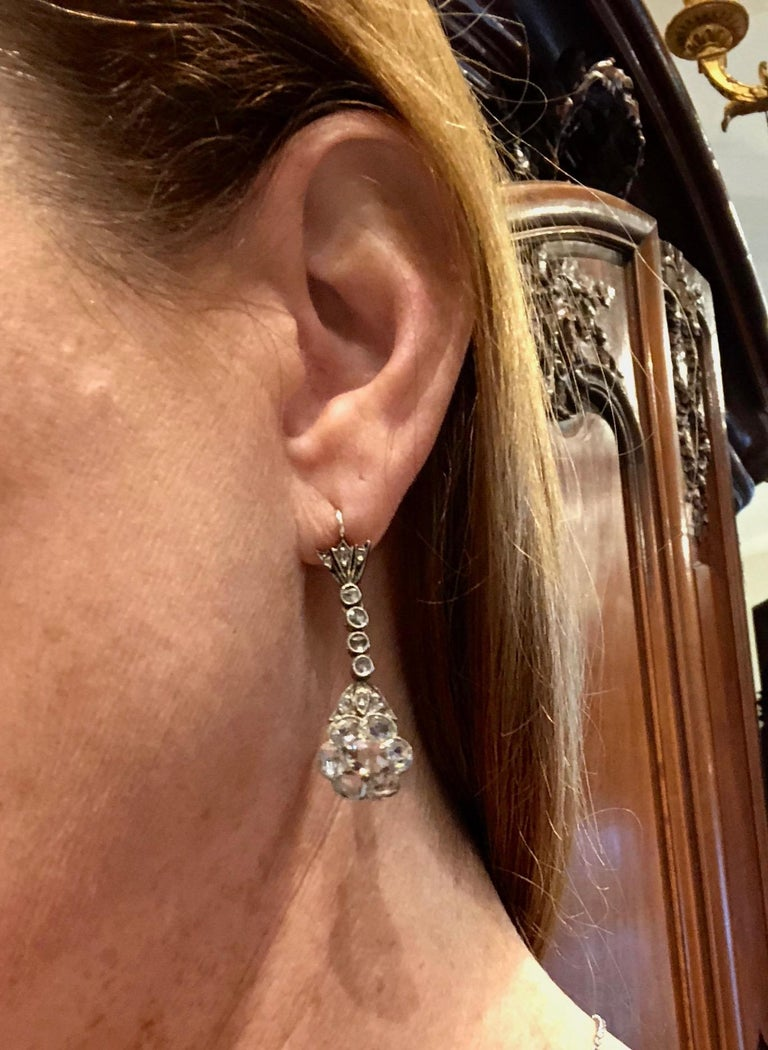 Magnificent Antique Rose Cut Diamond Drop Earrings In Excellent Condition For Sale In New Orleans, LA