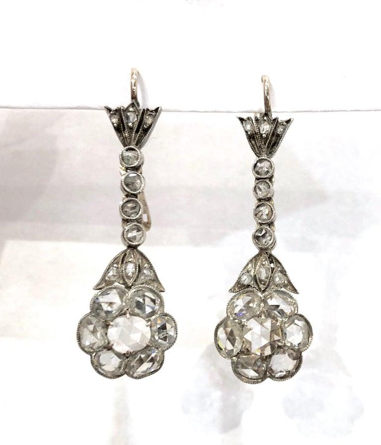 Women's or Men's Magnificent Antique Rose Cut Diamond Drop Earrings For Sale