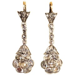 Magnificent Antique Rose Cut Diamond Drop Earrings
