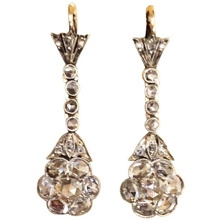 Magnificent Antique Rose Cut Diamond Drop Earrings For Sale