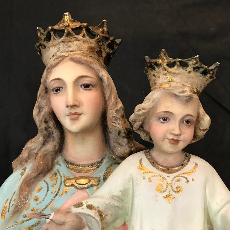 Magnificent Antique Santos Sculpture of St. Anne with Child In Good Condition For Sale In Hopewell, NJ