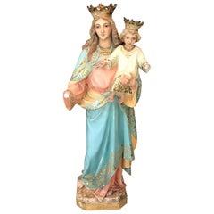 Magnificent Antique Santos Sculpture of St. Anne with Child