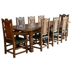 Magnificent Antique Style Oak Refectory Dining Table, Eight Chairs 20th Century