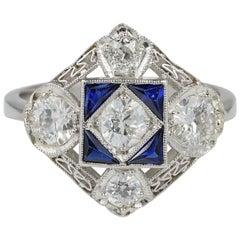Magnificent Art Deco 1.50 Carat Diamond F VVS VS Sapphire Platinum Ring