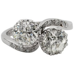 Magnificent Art Deco 2.45 Carat Diamond Twist Engagement Platinum Ring