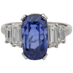 Magnificent Art Deco Certified 7.14 Carat No Heat Sapphire Diamond Platinum Ring