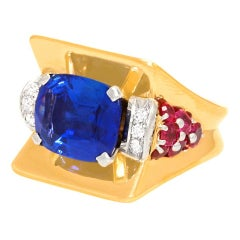 Magnificent Art Deco Ring with 7.50ct No Heat Ceylon Sapphire GIA