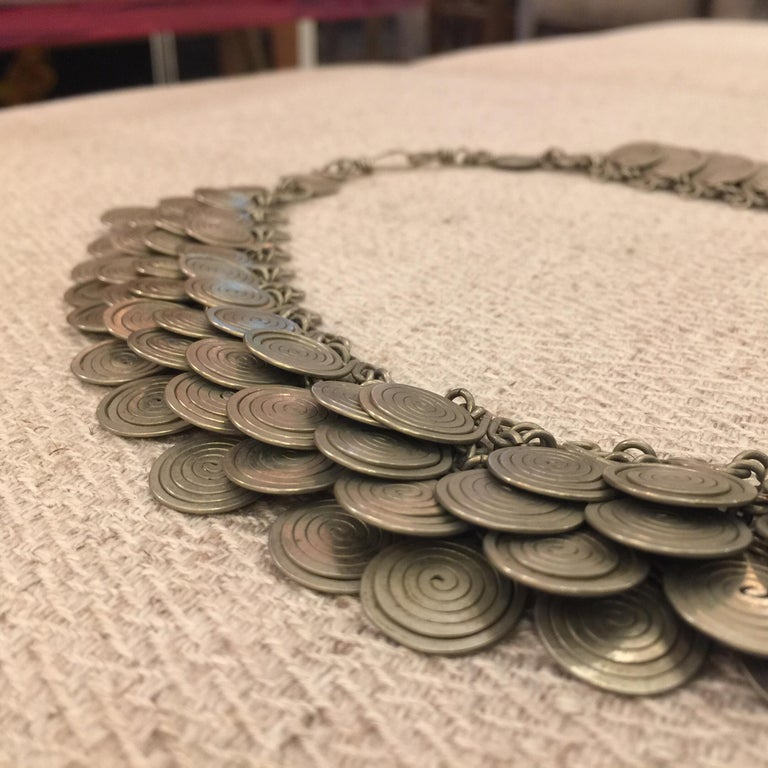 Magnificent Artisan Made Pewter Spirals Necklace For Sale 5