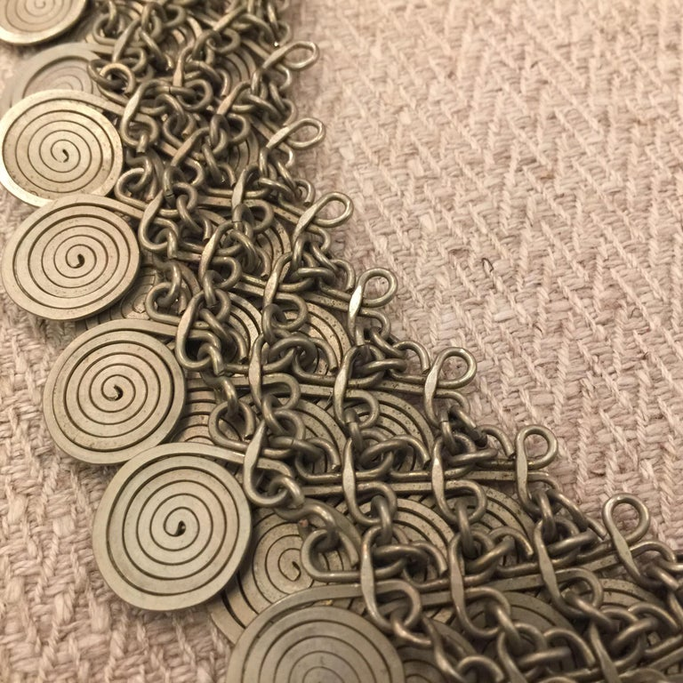 Magnificent Artisan Made Pewter Spirals Necklace For Sale 6