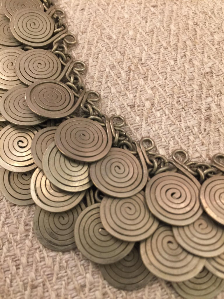 20th Century Magnificent Artisan Made Pewter Spirals Necklace For Sale