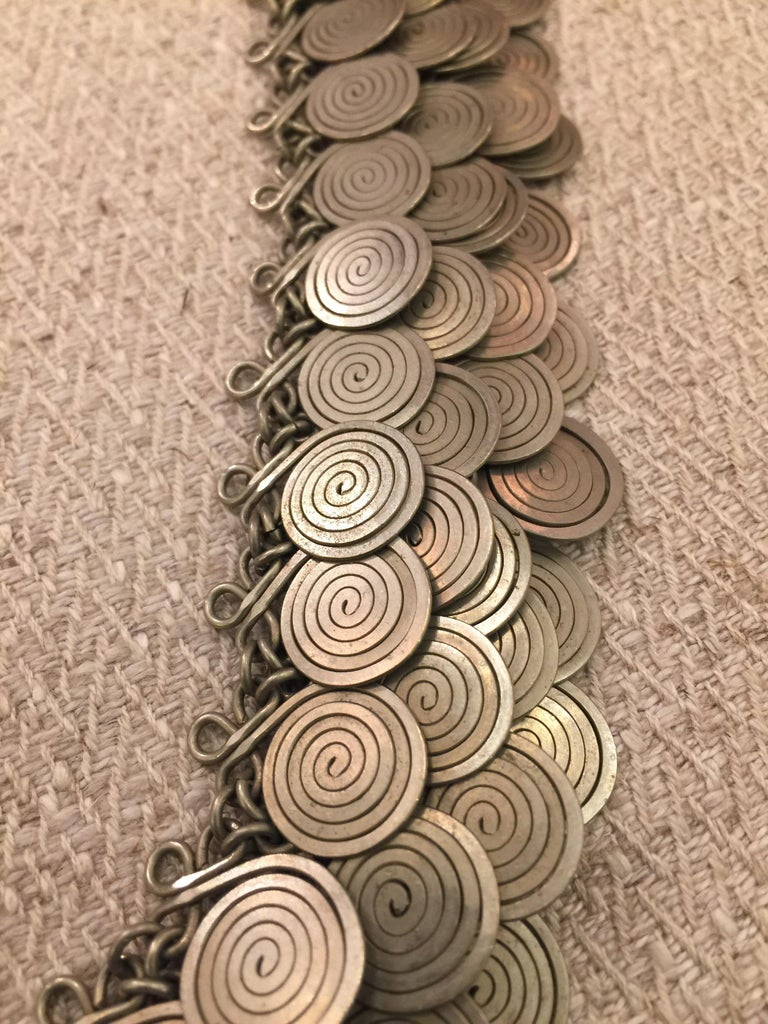 Magnificent Artisan Made Pewter Spirals Necklace For Sale 1