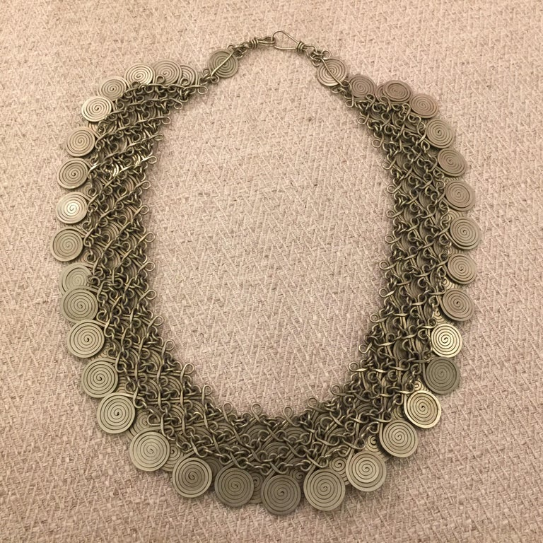 Magnificent Artisan Made Pewter Spirals Necklace For Sale 2