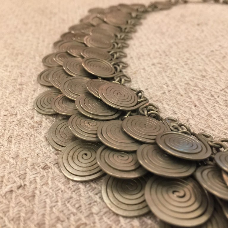 Magnificent Artisan Made Pewter Spirals Necklace For Sale 3