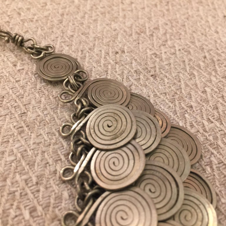 Magnificent Artisan Made Pewter Spirals Necklace For Sale 4