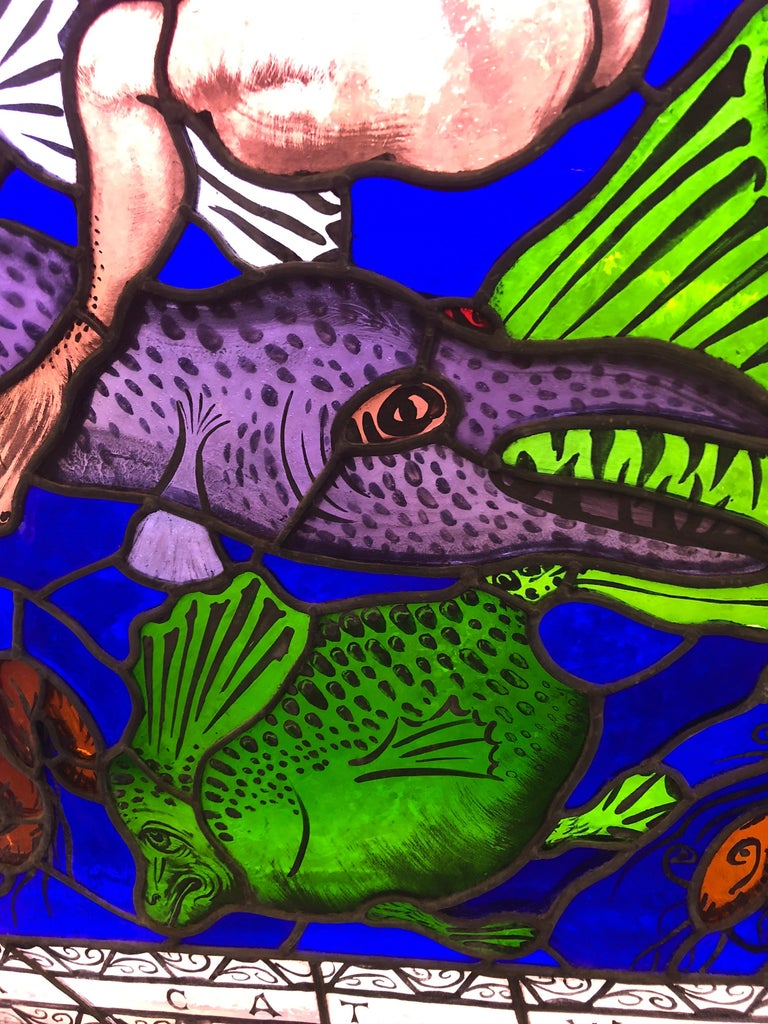 North American Magnificent Artist Made Stained Glass Window For Sale