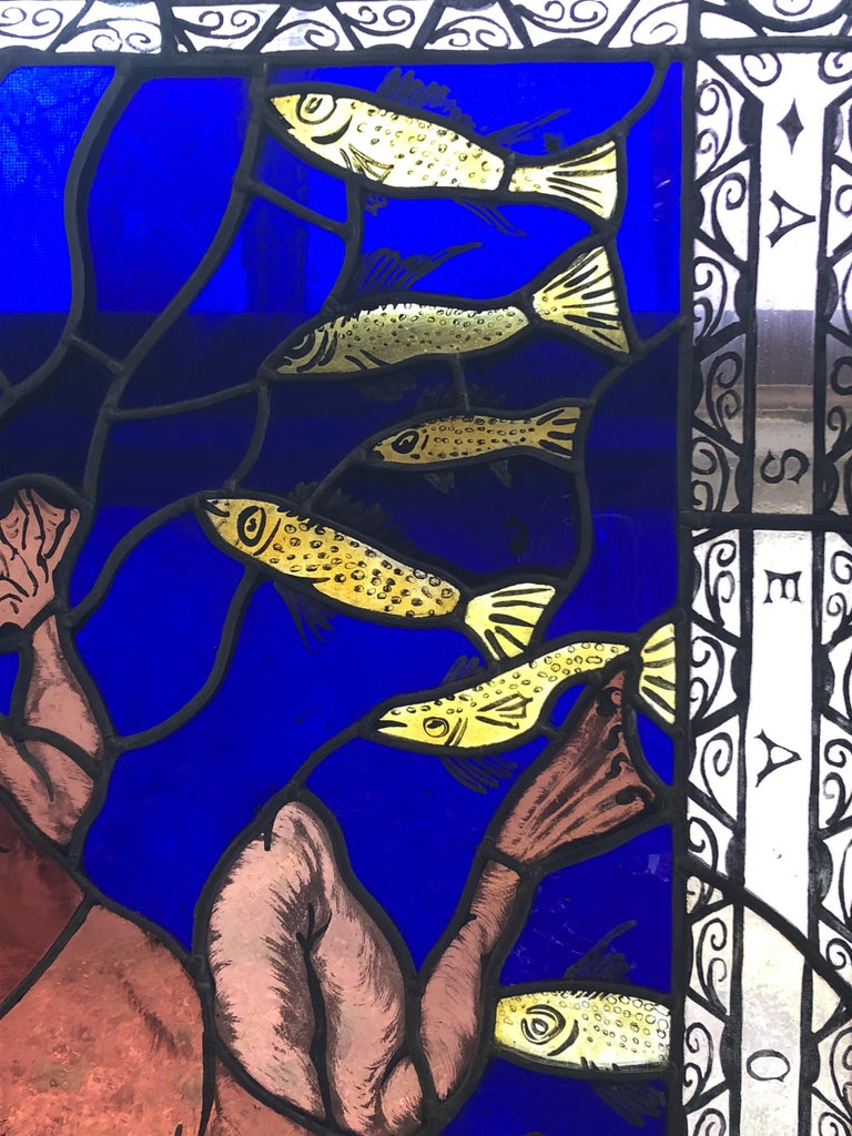 Magnificent Artist Made Stained Glass Window In Excellent Condition For Sale In Hopewell, NJ