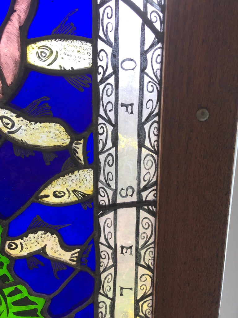 Contemporary Magnificent Artist Made Stained Glass Window For Sale