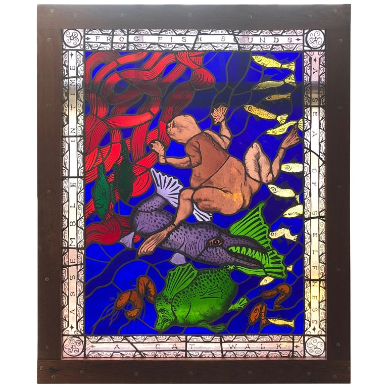 Magnificent Artist Made Stained Glass Window For Sale