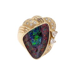Magnificent Australian Boulder Opal Diamond Gold Cocktail Ring