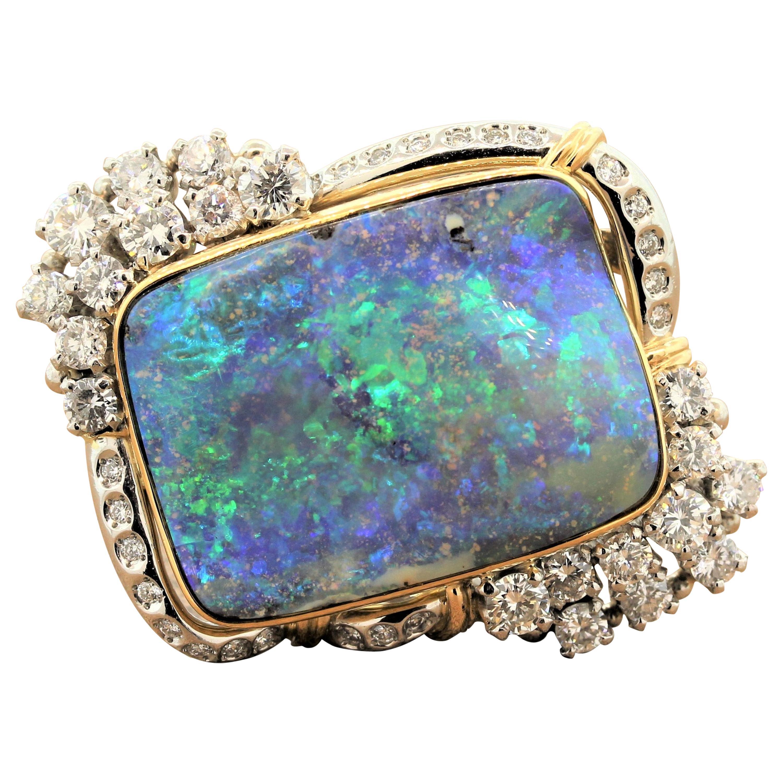Magnificent Australian Boulder Opal Diamond Platinum Gold Ring