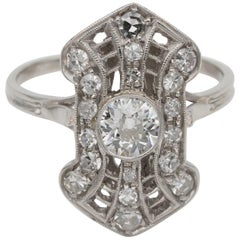 Magnificent Belle Epoque .90 Carat Diamond Rare Panel Ring