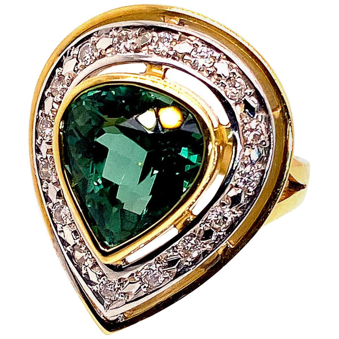 Magnificent Blue-Green Tourmaline Cocktail Ring